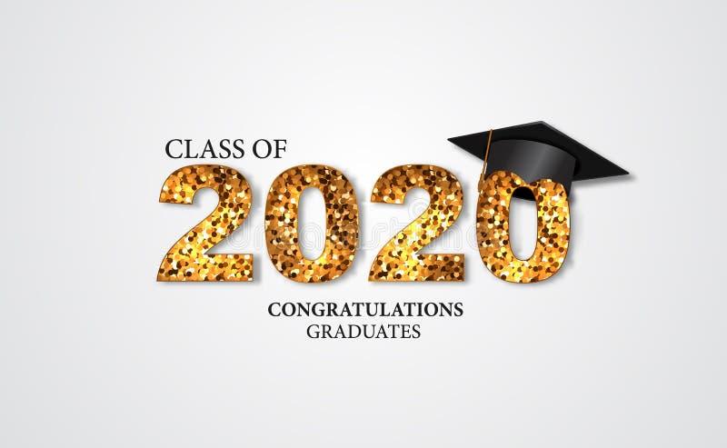 Απολυτήριο αποφοίτησης για την τάξη του 2020 συγχαρητήρια αποφοίτησε με χρυσό κείμενο και κεφαλαία διανυσματική απεικόνιση