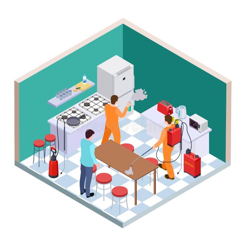 Απολύμανση κουζινών Isometric έλεγχος παρασίτων Διανυσματική ομάδα υπηρεσιών απολύμανσης διανυσματική απεικόνιση