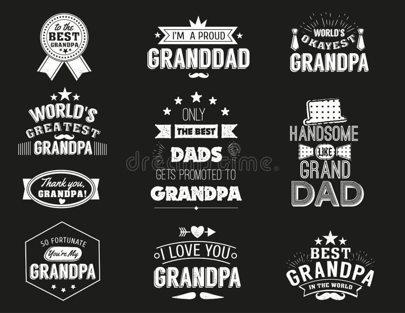 Απομονωμένα αποσπάσματα παππούδων στο μαύρο υπόβαθρο Ετικέτα συγχαρητηρίων Grandpa, διανυσματική συλλογή διακριτικών granddads ελεύθερη απεικόνιση δικαιώματος