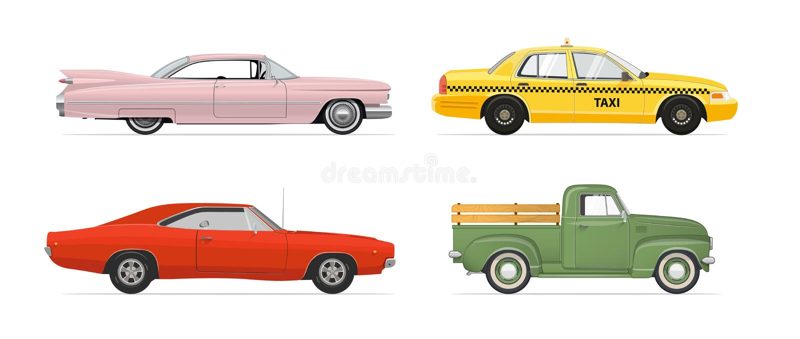 Απομονωμένα αυτοκίνητα που τίθενται στο άσπρο υπόβαθρο επίσης corel σύρετε το διάνυσμα απεικόνισης απεικόνιση αποθεμάτων