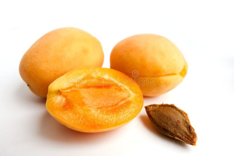 Απομονωμένα βερίκοκα Φρέσκα ολόκληρα φρούτα βερίκοκων με το φύλλο και κατά το ήμισυ απομονωμένος στο άσπρο υπόβαθρο με το ψαλίδισ στοκ φωτογραφία