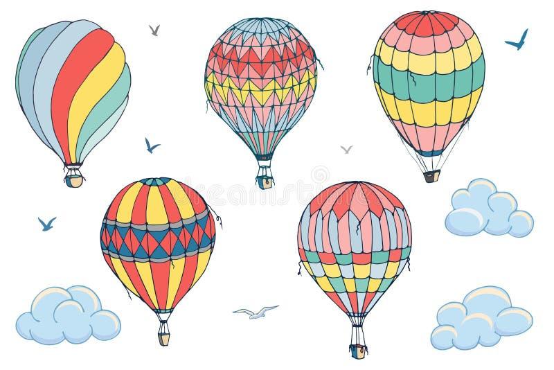 Απομονωμένα διάνυσμα μπαλόνια στο άσπρο υπόβαθρο Πολλά διαφορετικά χρωματισμένα ριγωτά μπαλόνια αέρα που πετούν στον καλυμμένο ου ελεύθερη απεικόνιση δικαιώματος