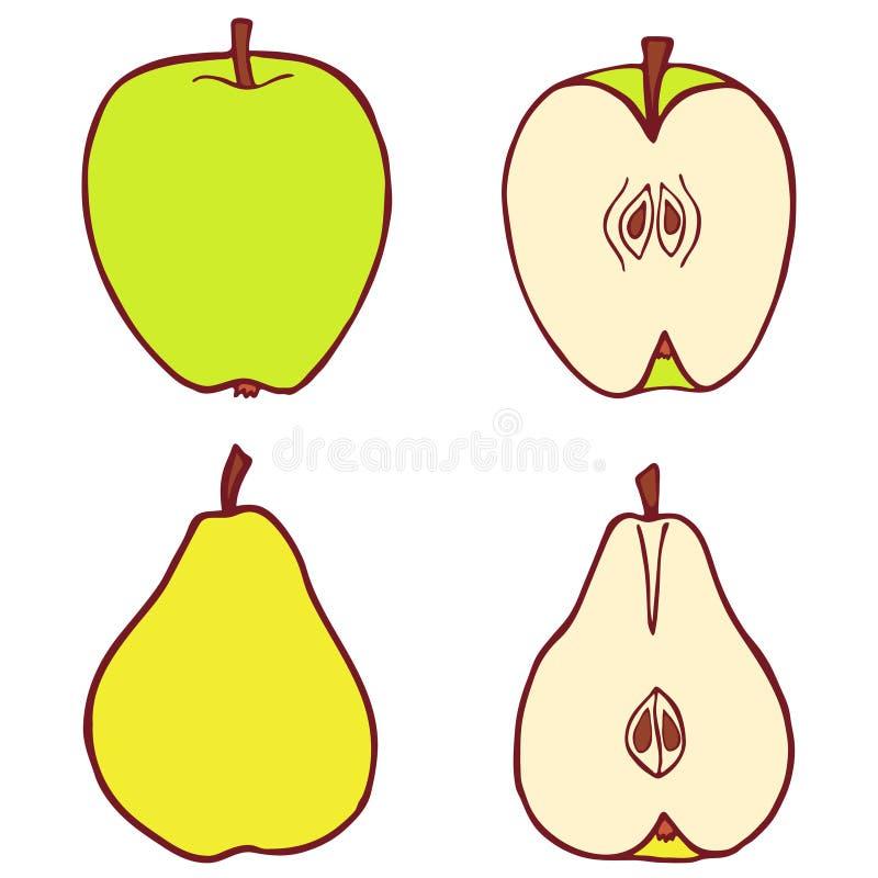 Απομονωμένα διανυσματικά επίπεδα μήλο και αχλάδι διανυσματική απεικόνιση