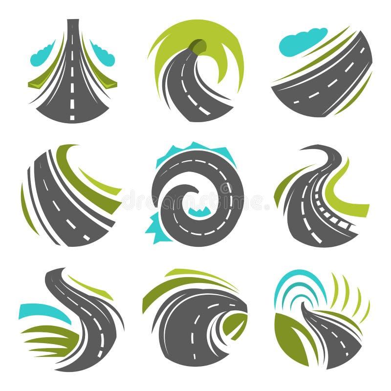 Απομονωμένα διάνυσμα εικονίδια πορειών δρόμων ή driveway καθορισμένα απεικόνιση αποθεμάτων