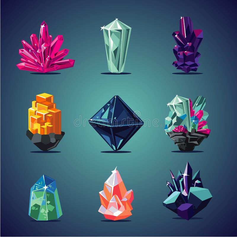 Απομονωμένα κρύσταλλο εικονίδια καθορισμένα Μαγική συλλογή πετρών ελεύθερη απεικόνιση δικαιώματος