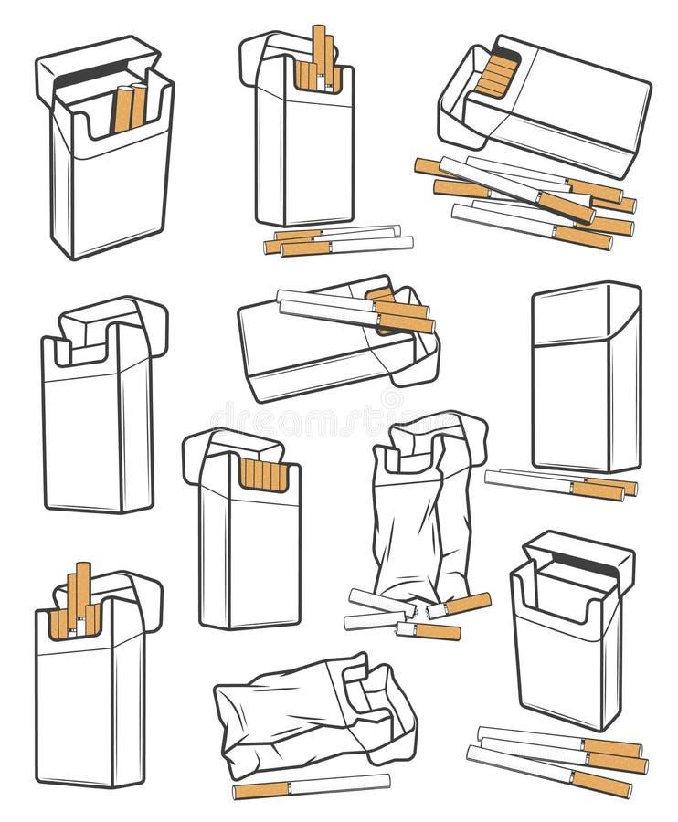 Απομονωμένα πακέτα τσιγάρων Πούρα, εικονίδια καπνών ελεύθερη απεικόνιση δικαιώματος