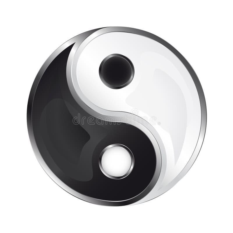 Απομονωμένα στιλπνά yin και yang εικονίδιο  ελεύθερη απεικόνιση δικαιώματος