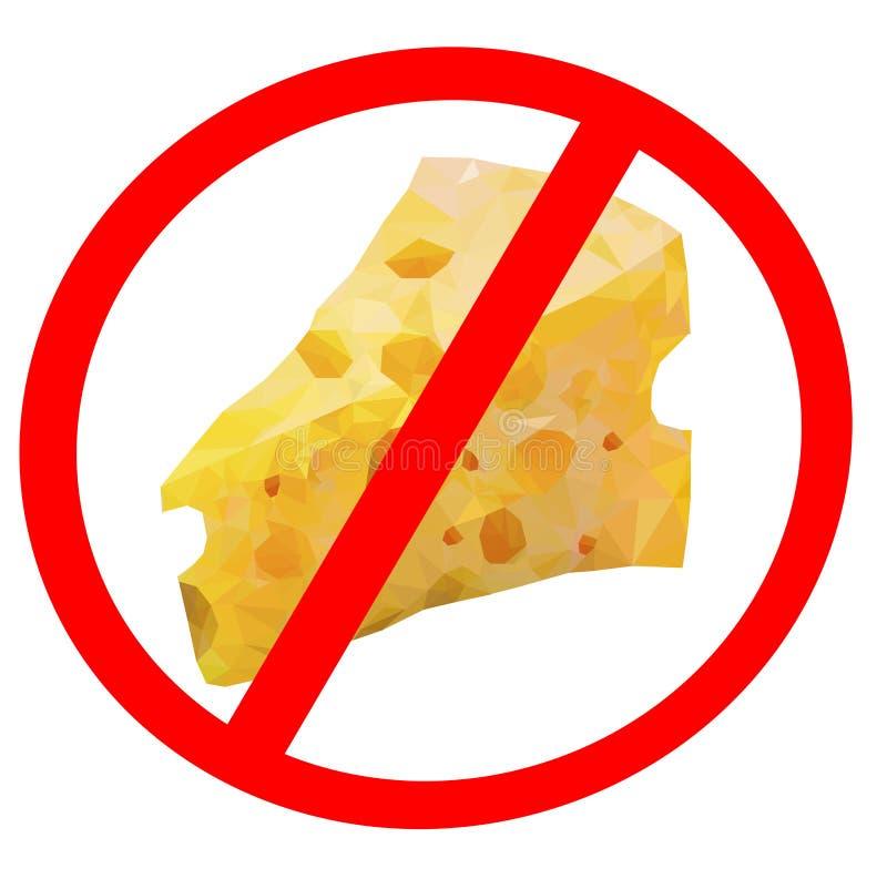 Απομονωμένα του τυριού τα σημάδια απαγόρευσης, σταματούν δια την έννοια λιπών διανυσματική απεικόνιση
