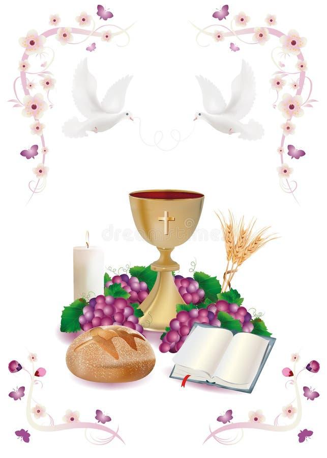 Απομονωμένα χριστιανικά σύμβολα με τα χρυσά κάλυκας-ψωμί-Βίβλος-σταφύλι-κερί-πού-αυτιά του σίτος-ρόδινων λουλουδιού και των πεταλ ελεύθερη απεικόνιση δικαιώματος