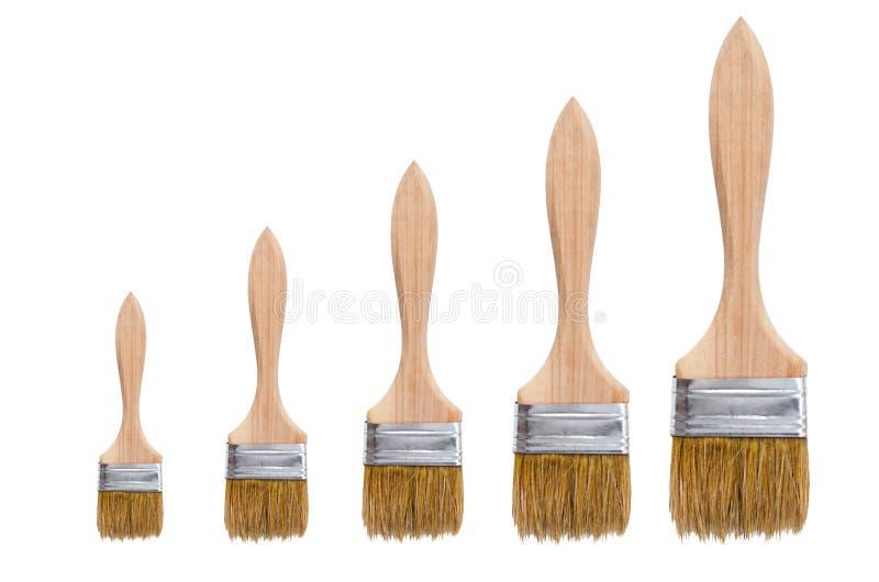 Απομονωμένες βούρτσες Πέντε βούρτσες των διαφορετικών μεγεθών με τις ξύλινες λαβές είναι απομονωμένες σε ένα άσπρο υπόβαθρο στοκ φωτογραφίες με δικαίωμα ελεύθερης χρήσης