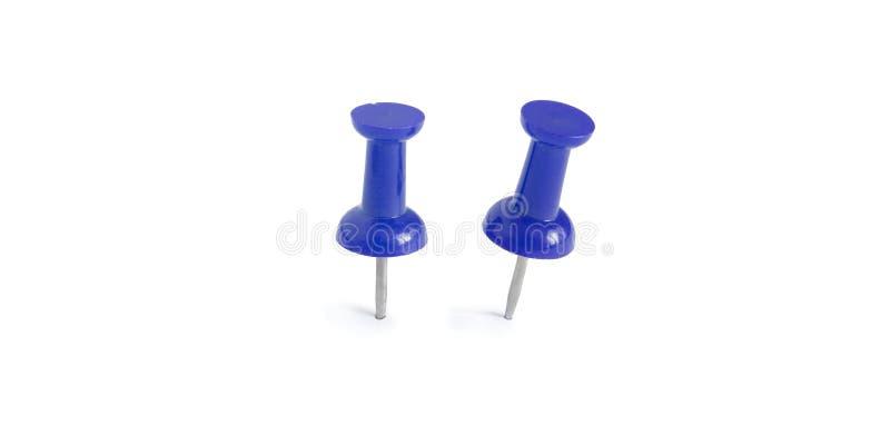 Απομονωμένες μπλε καρφίτσες ώθησης στο άσπρο υπόβαθρο στοκ φωτογραφία