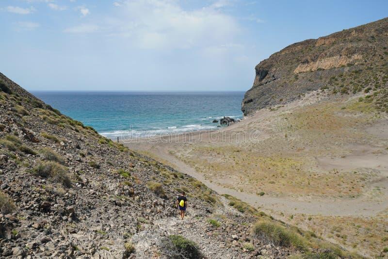 Απομονωμένη αμμώδης παραλία Cabo de Gata Ανδαλουσία Ισπανία στοκ φωτογραφία με δικαίωμα ελεύθερης χρήσης