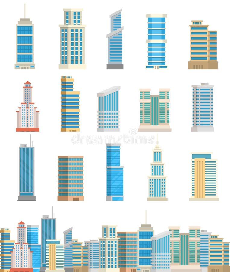 Απομονωμένη απεικόνιση επιχειρησιακών διαμερισμάτων σπιτιών αρχιτεκτονικής πόλεων γραφείων πύργων ουρανοξυστών κτήρια διανυσματικ διανυσματική απεικόνιση