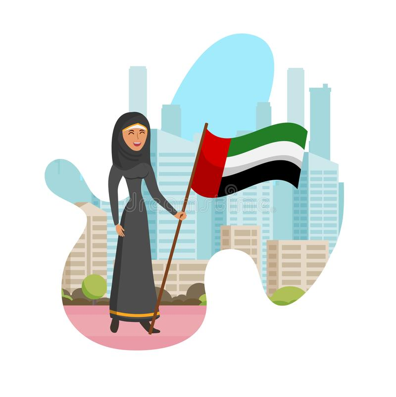 Απομονωμένη απεικόνιση κινούμενων σχεδίων γυναικών Emirati ημέρα διανυσματική απεικόνιση