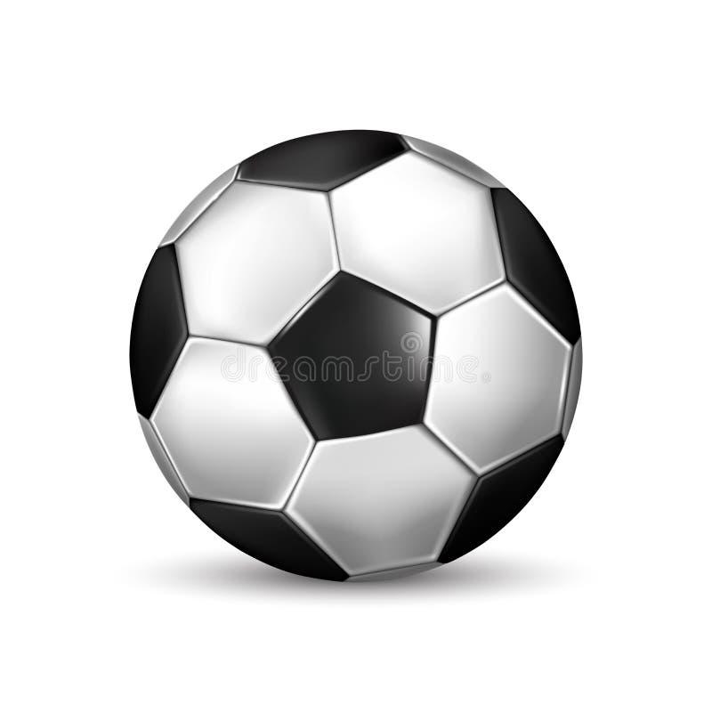 Απομονωμένη απεικόνιση της ρεαλιστικής γραπτής σφαίρας ποδοσφαίρου επίσης corel σύρετε το διάνυσμα απεικόνισης ελεύθερη απεικόνιση δικαιώματος