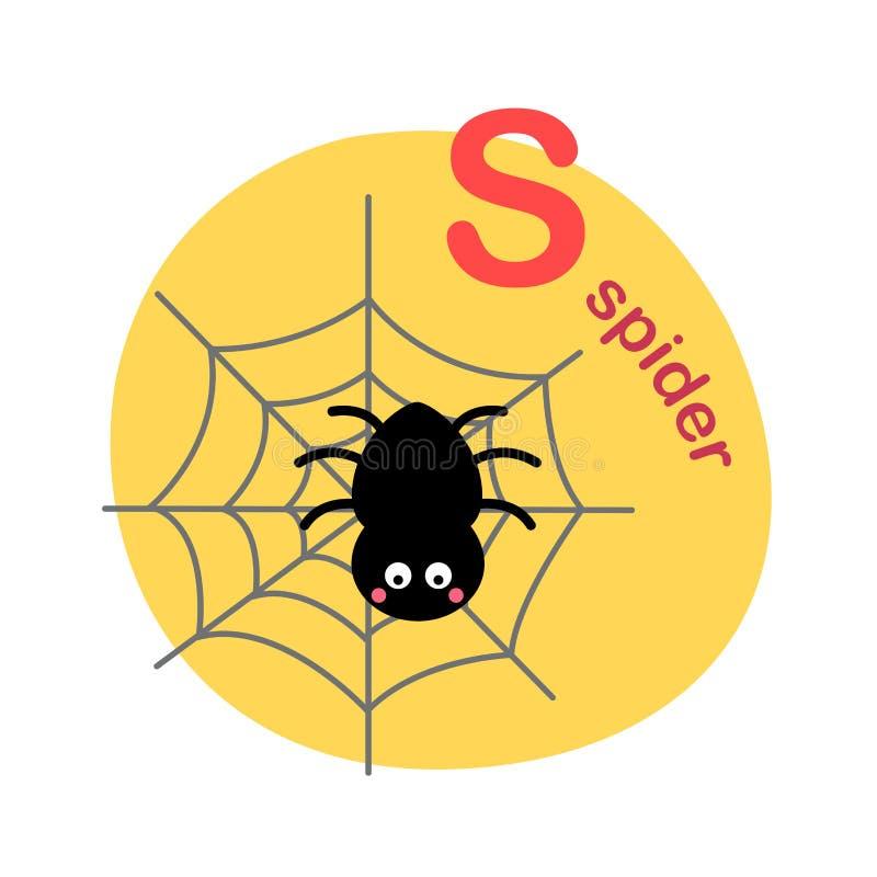 Απομονωμένη απεικόνιση s-αράχνη επιστολών αλφάβητου διανυσματική απεικόνιση