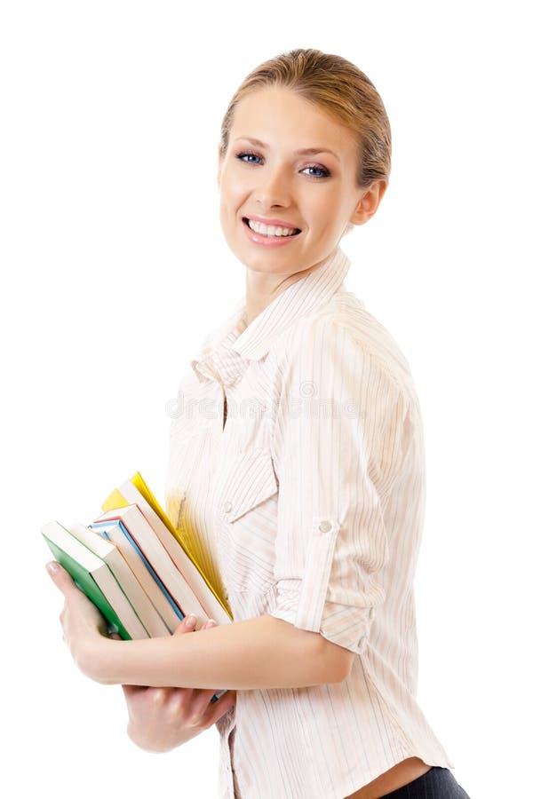 απομονωμένη βιβλία γυναίκ& στοκ φωτογραφία με δικαίωμα ελεύθερης χρήσης