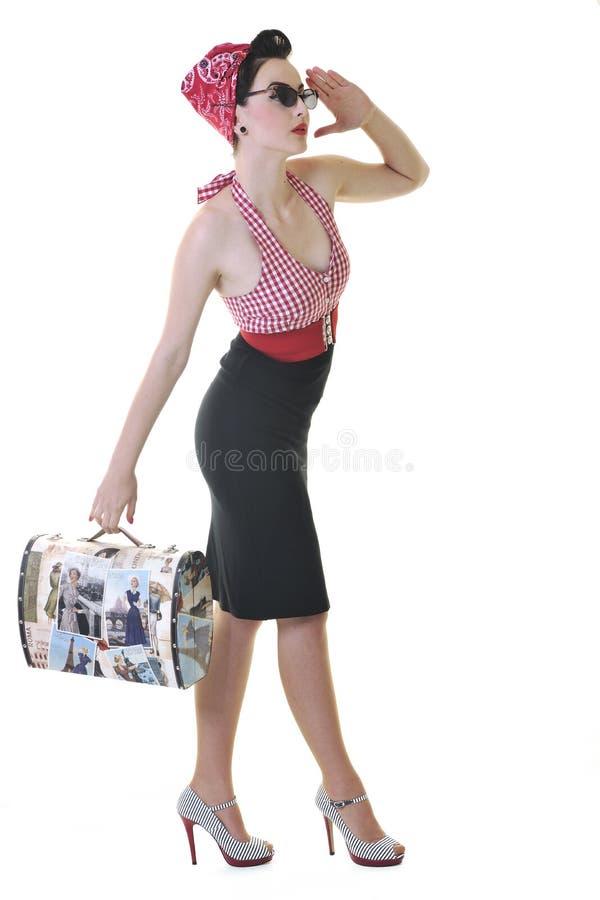 Απομονωμένη γυναίκα με την τσάντα ταξιδιού στοκ φωτογραφίες