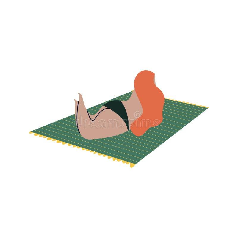 Απομονωμένη γυναίκα που κάνει ηλιοθεραπεία σε ένα μπικίνι διανυσματική απεικόνιση