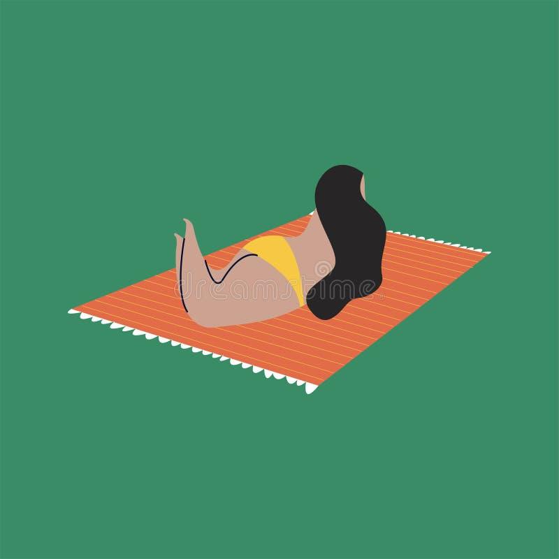 Απομονωμένη γυναίκα στο μπικίνι που κάνει ηλιοθεραπεία στο χαλί παραλιών διανυσματική απεικόνιση