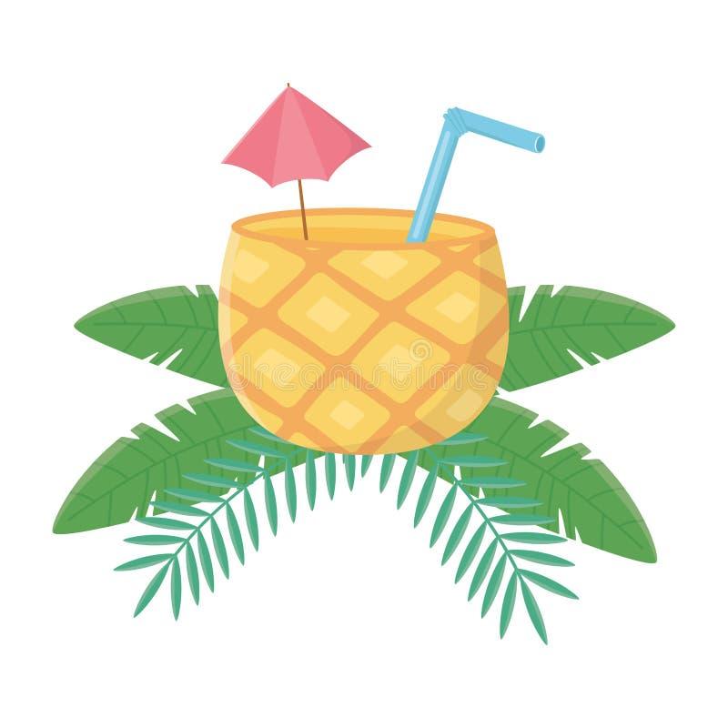Απομονωμένη διανυσματική απεικόνιση σχεδίου κοκτέιλ ανανά διανυσματική απεικόνιση