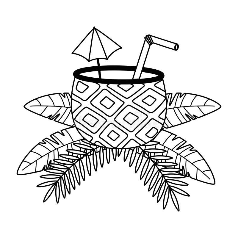Απομονωμένη διανυσματική απεικόνιση σχεδίου κοκτέιλ ανανά ελεύθερη απεικόνιση δικαιώματος