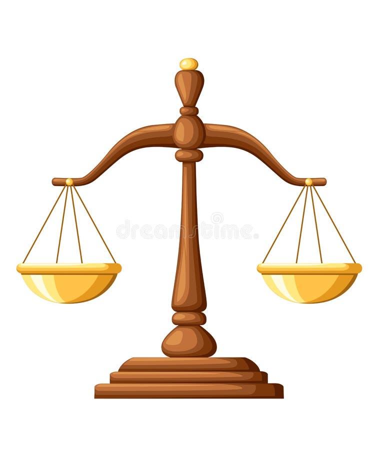 απομονωμένη δικαιοσύνη πέρα από το λευκό κλιμάκων Ξύλινο σημάδι ισορροπίας κλιμάκων Διανυσματική απεικόνιση που απομονώνεται στην απεικόνιση αποθεμάτων