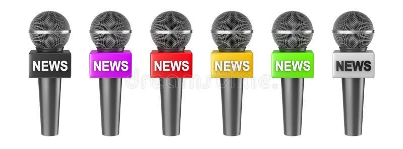 Απομονωμένη ειδήσεις σειρά μικροφώνων ελεύθερη απεικόνιση δικαιώματος