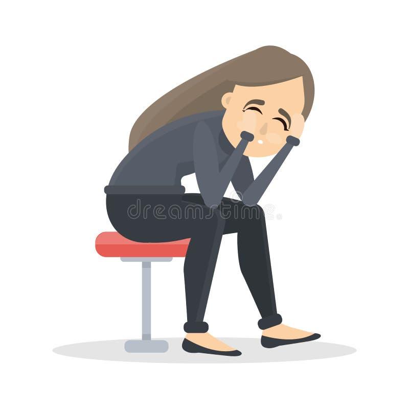 απομονωμένη κατάθλιψη λευκή γυναίκα διανυσματική απεικόνιση