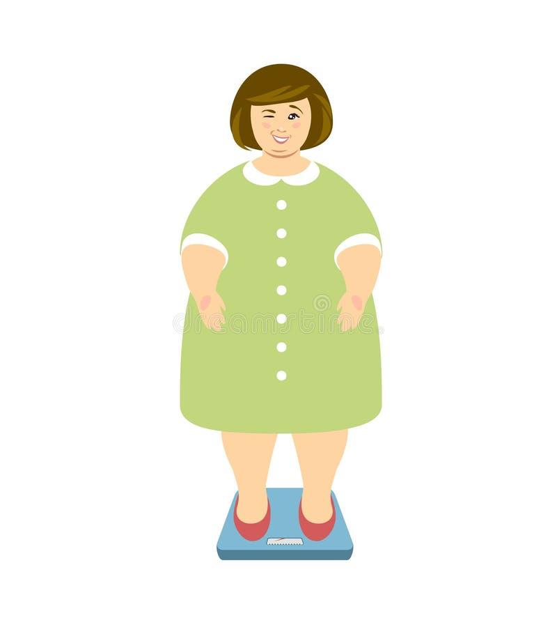 απομονωμένη λευκή γυναίκα βάρους κορμών μέτρου απώλειας Η υπέρβαρη γυναίκα στις κλίμακες και κλείνει το μάτι ελεύθερη απεικόνιση δικαιώματος