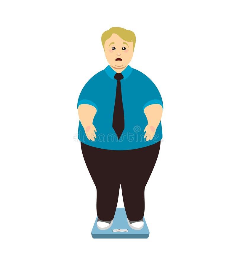 απομονωμένη λευκή γυναίκα βάρους κορμών μέτρου απώλειας Υπέρβαρο άτομο στις κλίμακες απεικόνιση αποθεμάτων