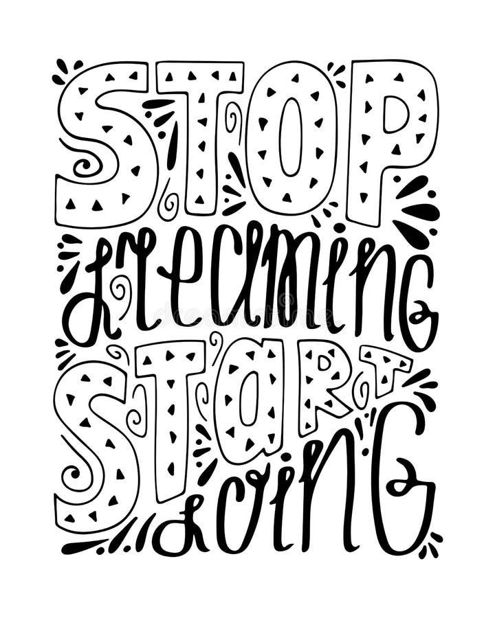 Απομονωμένη μονοχρωματική hand-drawn απεικόνιση με το σύγχρονο letterin ελεύθερη απεικόνιση δικαιώματος