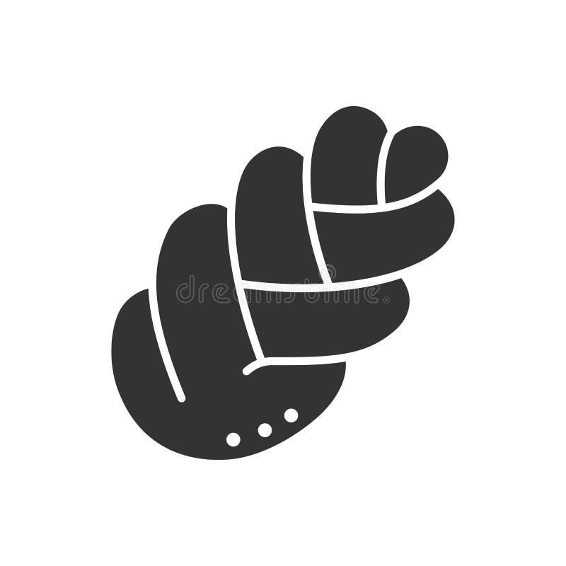 Απομονωμένη ο Μαύρος σκιαγραφία του ψωμιού πλεξουδών στο άσπρο υπόβαθρο Εικονίδιο του challah ελεύθερη απεικόνιση δικαιώματος