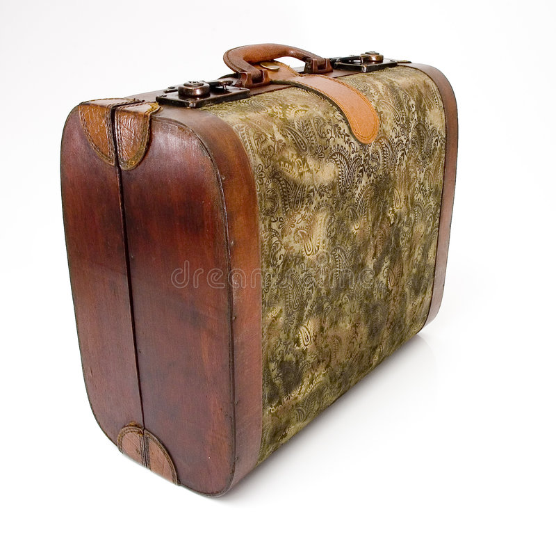 απομονωμένη παλαιά βαλίτσα στοκ εικόνες