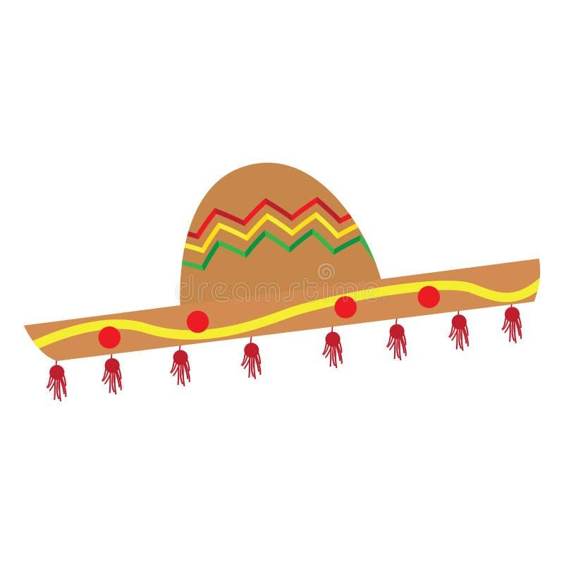 Απομονωμένη παραδοσιακή χρωματισμένη μεξικάνικη εικόνα καπέλων διανυσματική απεικόνιση