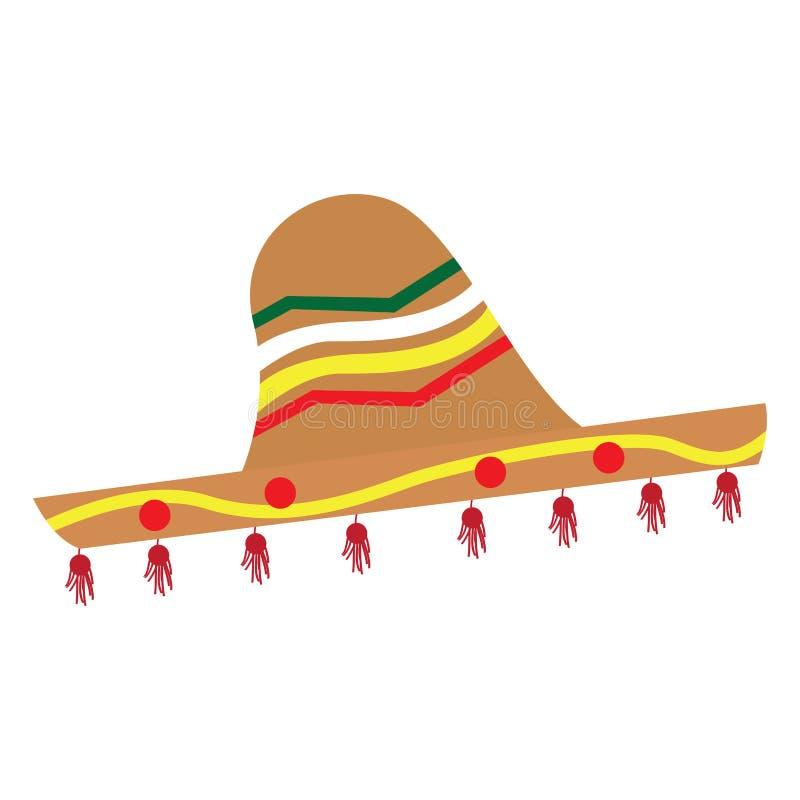 Απομονωμένη παραδοσιακή χρωματισμένη μεξικάνικη εικόνα καπέλων ελεύθερη απεικόνιση δικαιώματος