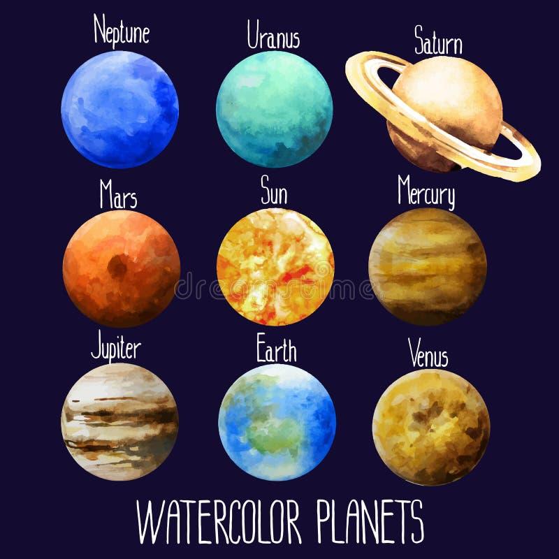 Απομονωμένη πλανήτες συλλογή Watercolor διανυσματική απεικόνιση