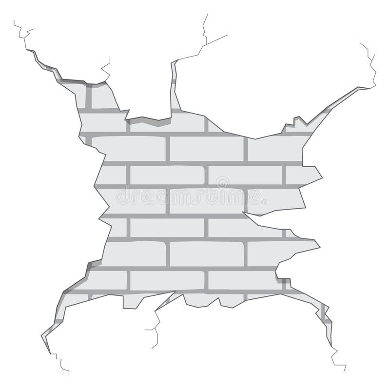 Απομονωμένη ρωγμή τουβλότοιχος απεικόνιση αποθεμάτων