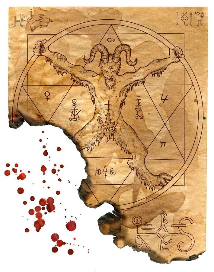 Απομονωμένη σελίδα του μαγικού βιβλίου με το διάβολο, pentagram και τα απόκρυφα σύμβολα ελεύθερη απεικόνιση δικαιώματος
