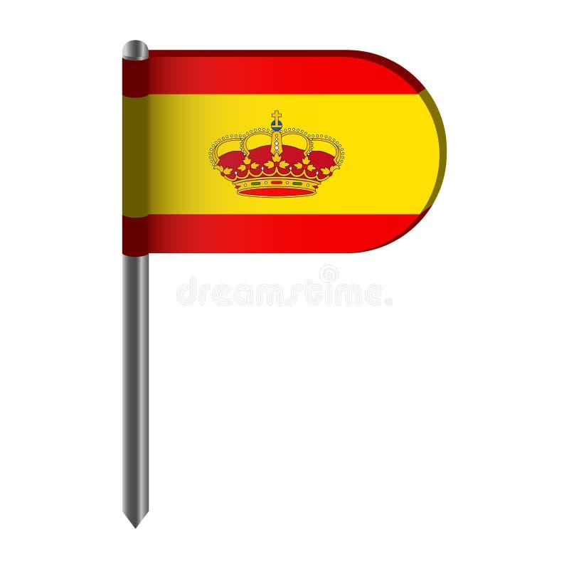 Απομονωμένη σημαία της Ισπανίας διανυσματική απεικόνιση