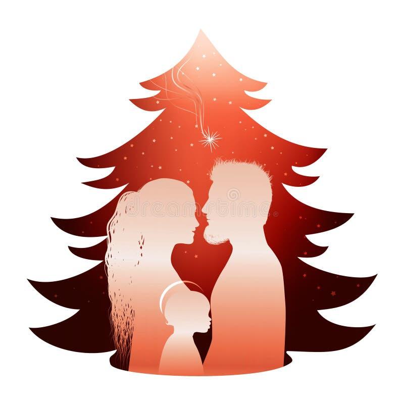 Απομονωμένη σκηνή nativity χριστουγεννιάτικων δέντρων με την ιερή οικογένεια Σχεδιάγραμμα σκιαγραφιών στο κόκκινο υπόβαθρο ελεύθερη απεικόνιση δικαιώματος
