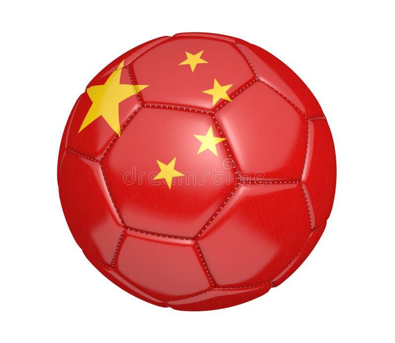 Απομονωμένη σφαίρα ποδοσφαίρου, ή ποδόσφαιρο, με τη σημαία χωρών της Κίνας ελεύθερη απεικόνιση δικαιώματος