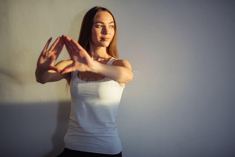 απομονωμένη χέρια προσευχή ευγνωμοσύνης ανασκόπησης που συμβολίζει μαζί τη λευκή γυναίκα Mudra στοκ φωτογραφία με δικαίωμα ελεύθερης χρήσης