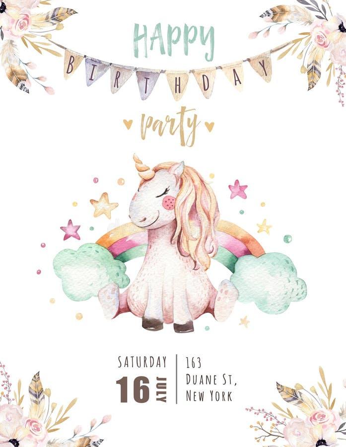 Απομονωμένη χαριτωμένη κάρτα πρόσκλησης μονοκέρων watercolor Απεικόνιση μονοκέρων βρεφικών σταθμών Αφίσα μονοκέρων ουράνιων τόξων διανυσματική απεικόνιση