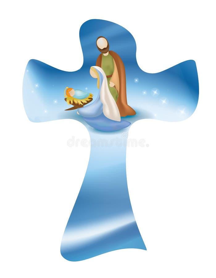 Απομονωμένη χριστιανική διαγώνια σκηνή nativity μορίων Ιησούς Mary Joseph απεικόνιση αποθεμάτων
