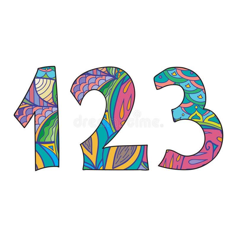 Απομονωμένοι αριθμοί Doodle καθορισμένοι διανυσματική απεικόνιση