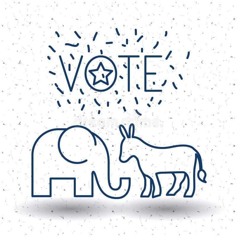 Απομονωμένοι γάιδαρος και ελέφαντας της έννοιας ψηφοφορίας διανυσματική απεικόνιση
