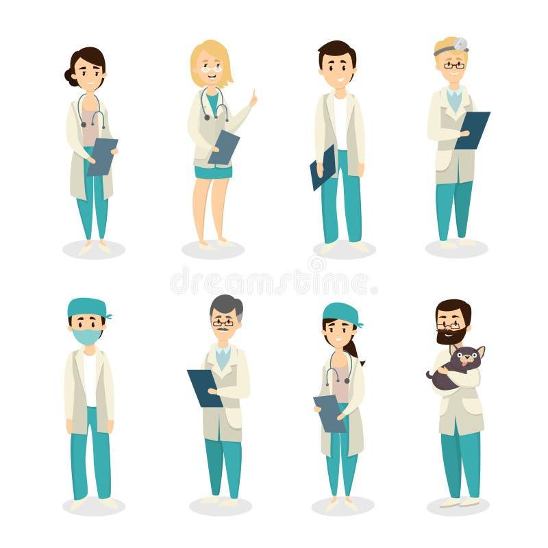 Απομονωμένοι γιατροί καθορισμένοι διανυσματική απεικόνιση