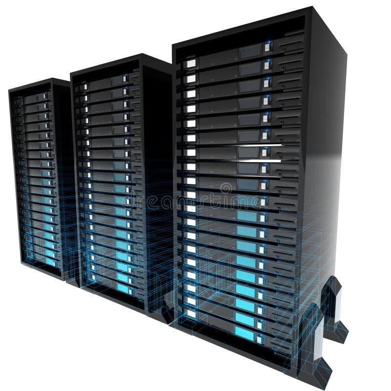 απομονωμένοι κεντρικοί υπολογιστές wireframe ελεύθερη απεικόνιση δικαιώματος
