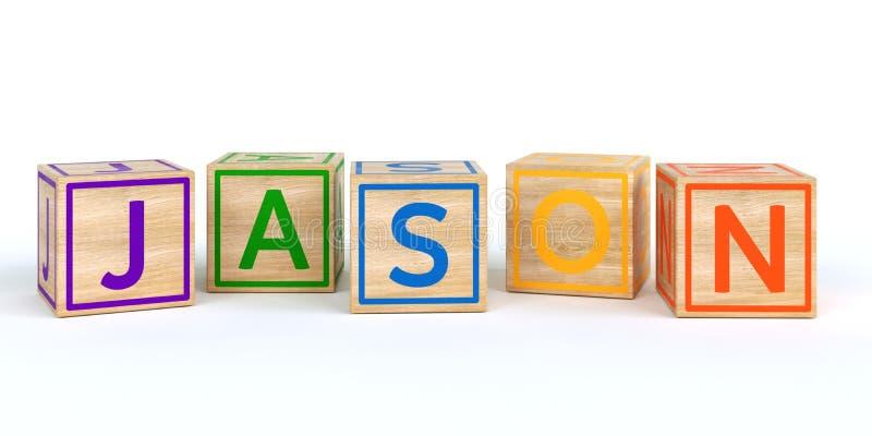 Απομονωμένοι ξύλινοι κύβοι παιχνιδιών με τις επιστολές με το όνομα jason διανυσματική απεικόνιση